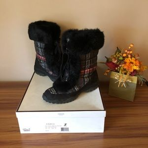COACH JENNIE PLAID RABBIT FUR BOOTS SZ 8